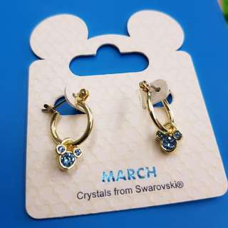 Authentic Disney Mickey Earrings Blue Swarovski Crystals