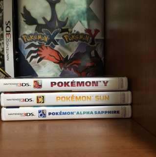 Pokemon Y, Sun and alpha sapphire. Nintendo 3DS games