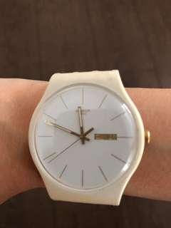 Swatch White Rebel unisex, gold day date dial, leather strap