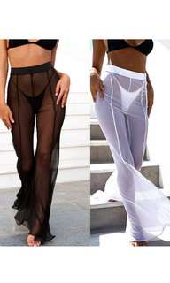 Mesh bell bottom flare pants
