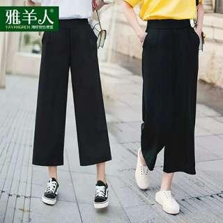 夏季寬鬆雪紡直筒七分寬裤