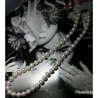 🔥全新100%天然淡水珍珠頸鏈,光亮白,8.5-9mm,長度45cm,純銀扣