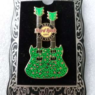 Hard Rock Cafe Pins ~ LAS VEGAS HOT 2011 CHEETAH PRINT DOUBLE~NECK GUITAR PIN!