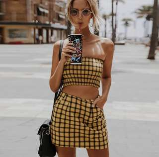 PO: In Trend 2 piece yellow plaid/checkered skirt and bandeau top 🖤