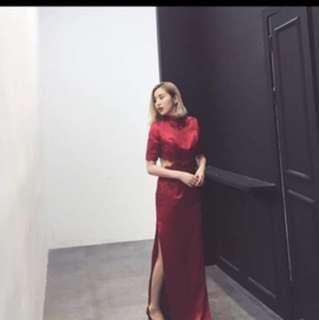 結婚 敬酒 2件式 紅長裙