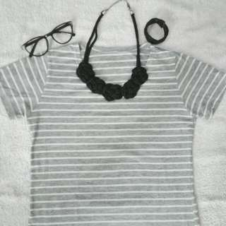 Stripe Dress Light grey
