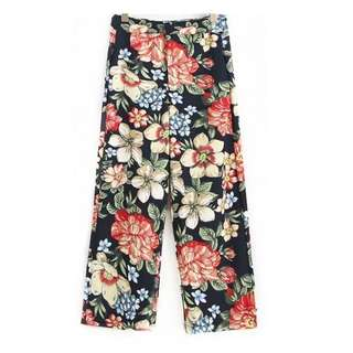 European and American style flower printing wide-tube trousers casual wide leg suit pants