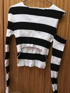Cropped striped off shoulder top