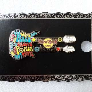 Hard Rock Cafe Pins ~ LAS VEGAS HOT 2012 PSYCHEDELIC MOTTO DOUBLE~NECK GUITAR PIN!