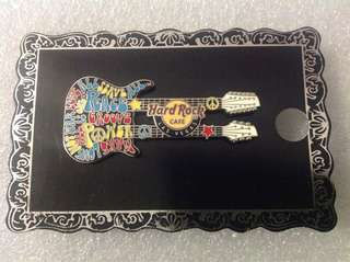 Hard Rock Cafe Pins - LAS VEGAS HOT 2012 PSYCHEDELIC MOTTO DOUBLE-NECK GUITAR PIN!