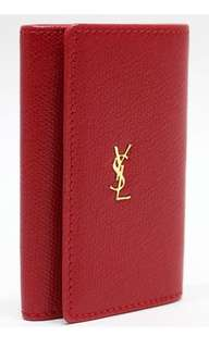 YSL Leather Logo Plate Key Case Red