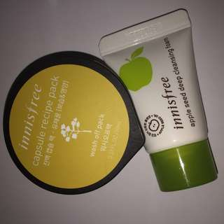 Innisfree apple seed cleansing foam & capsule recipe pack canola honey
