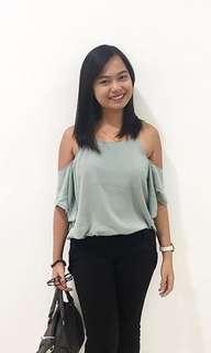 Mint cold shoulder top