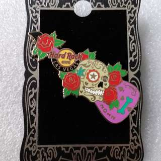 Hard Rock Cafe Pins ~ LAS VEGAS HOT 2012 DAY OF THE DEAD SUGAR SKULL GUITAR PIN!