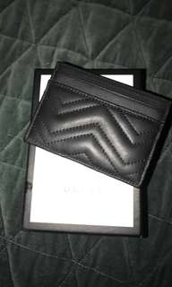 Black Gucci leather GG marmont card holder