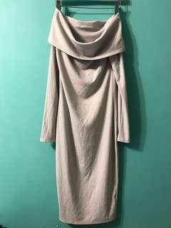 一字膊連身裙 cotton on grey midi bodycon sexy evening dress