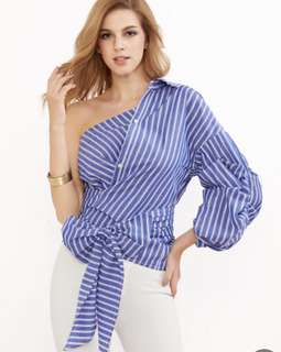 One Shoulder Striped Wrap Top