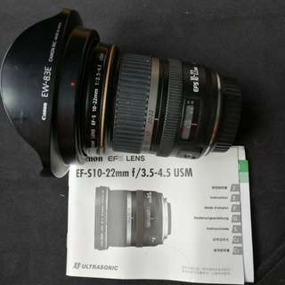 Canon 10-22mm lens Used