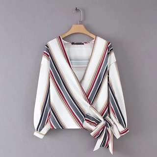 Europe and the United States 2018 spring women's self-cultivation V-neck cross color stripe printing belt kimono TOP