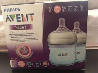 Avent blue natural bottle (0M+)- new