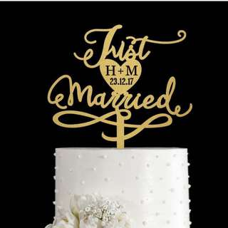 Personalized Gold Wedding Cake Topper