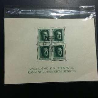 1938 希特拉小全張實寄