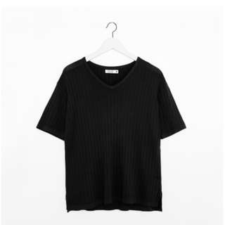 [ chula ] - 坑條針織V領上衣 (黑)
