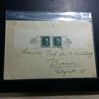 1937 希特拉半小全張實寄封