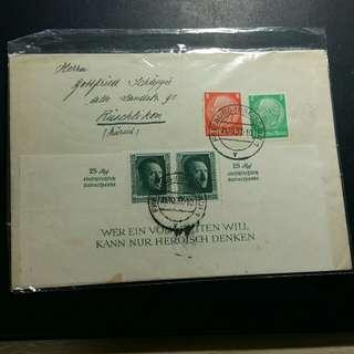1937希特拉半小全張實寄封