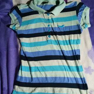 Blue collared stripped blouse