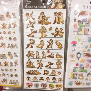 Japan Tokyo Disney Chip and Dale Schedule Stickers