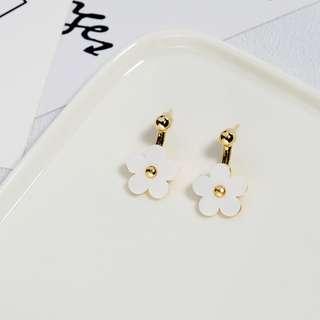 🎠清新小花 耳環~(白色款)