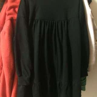 黑色寬版洋裝