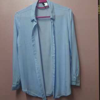 Shirt H&M size 36 strips light blue and white