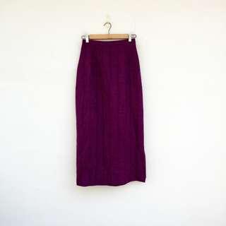 二手 紫色 高腰 條紋 長裙 明太子 0318