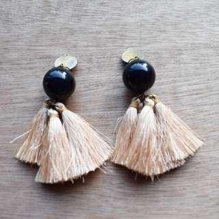 Beige Tassel Earrings
