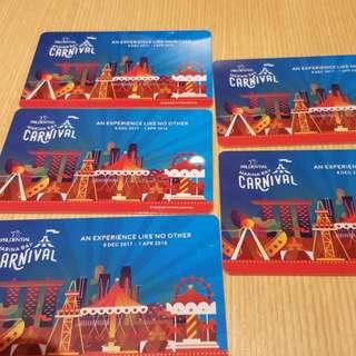 $60 worth of marina bay carnival tokens
