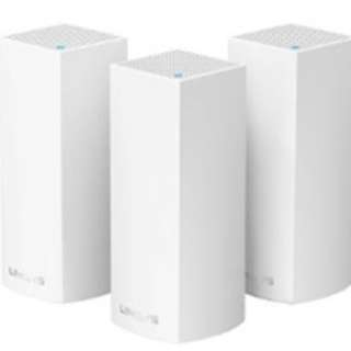 Linksys Velop Tri-band AC6600 Whole Home WiFi Mesh System (Pack of 3). Guide Set Up / Tri-Band Tech / Linksys App / Modular