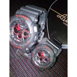 G-shock Couple Black Red Gred A+ (FREE BOX)