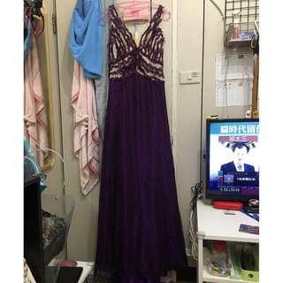 XL 深紫色大V領小禮服
