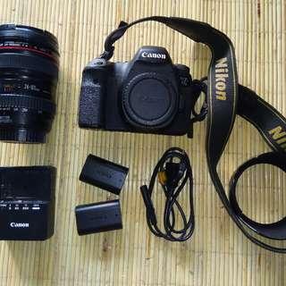 canon 6D + lensa 24-105mm F4.0 L + 2 battery ori