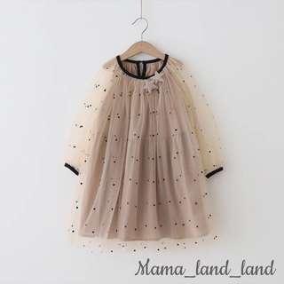 Girlish khaki polka dot with bling bling star lace dress 👗