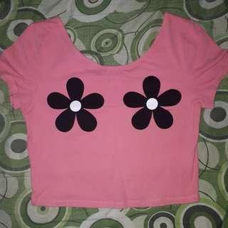 Floral pink croptop