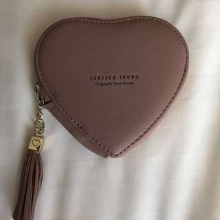 Korean PU Leather Heart-Shaped Coin Purse - Dusty Pink