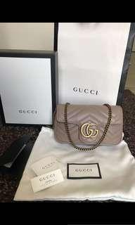 Gucci marmont super mini nude