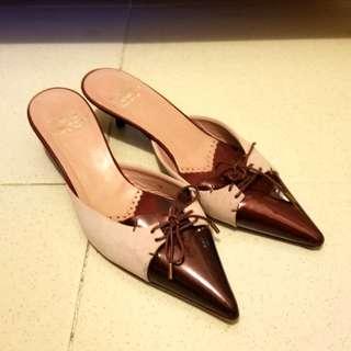 MOSCHINO正品粉紫绒棗紅漆皮施鞋意大利34號