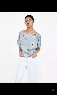 Europe and the United States dot flower print shirt