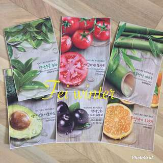 Nature Republic-Real Nature Mask Sheet (Tomato/Açaí Berry/Bamboo/Avocado/Green Tea/Orange)