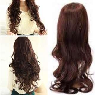 Wig Long Hair Dark Brown Color Full Wig Free Shipping