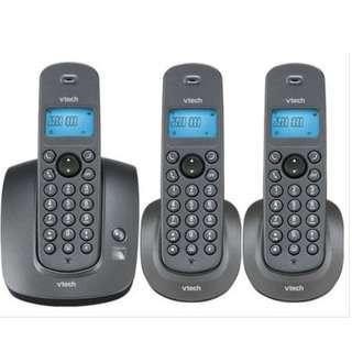 Vtech VT1515 Black Trio Dect Phones (Cordless) SET OF 3 HANDSETS [b5]